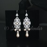 Champagne Pearl Bridal Earrings Vintage Chandelier Wedding
