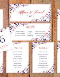 Wedding seating chart template download instantly editable wording chic bouquet navy  coral microsoft word format also rh weddbook
