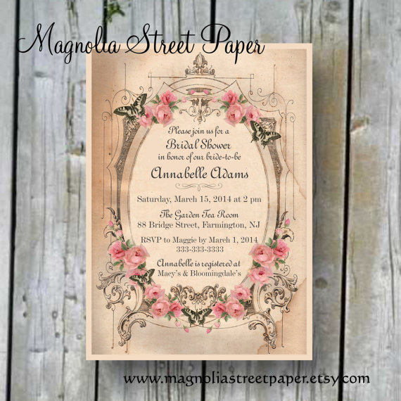 Printable Bridal Shower Invitation Custom Shabby