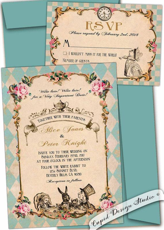 Alice In Wonderland Wedding Invitation Whimsical