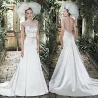 Elegant Beaded Wedding Dresses 2015 Sheer Crew Neck ...