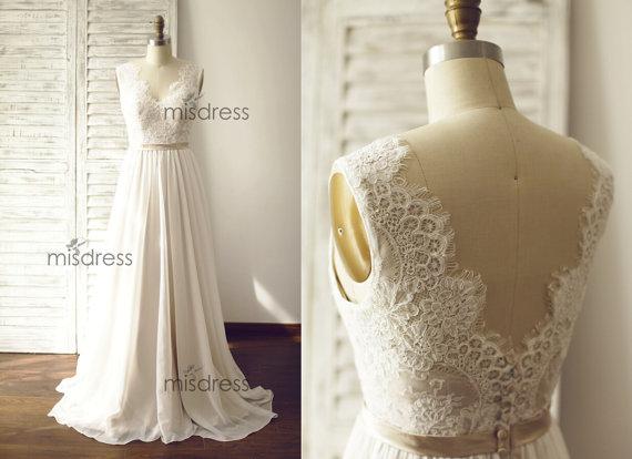 Ivory Lace Chiffon Wedding Dress Deep V Back/ Backless