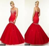 Red Evening Dresses Mermaid Prom Gowns 2015 Sequins Tulle