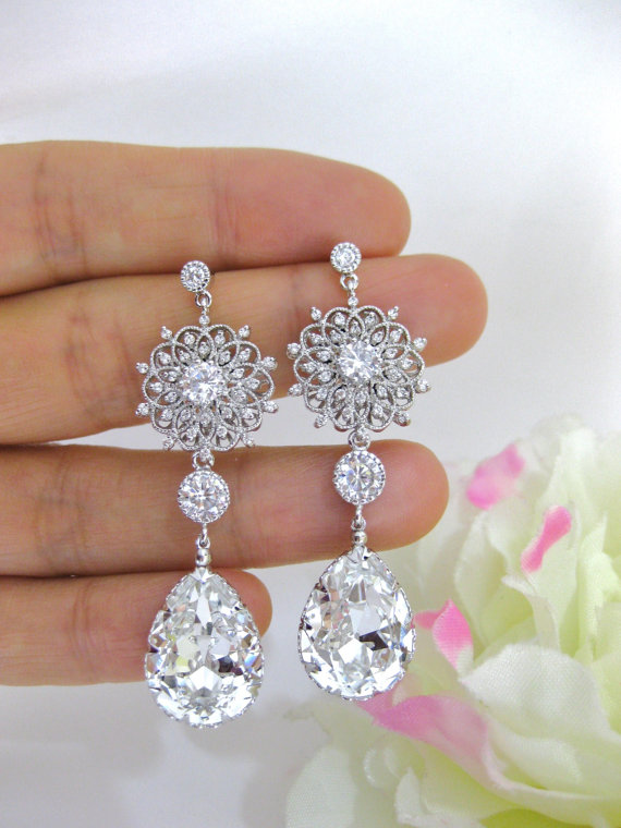 Clear White Crystal Bridal Earrings Wedding Jewelry Swarovski Teardrops Fl Styal Chandelier E123