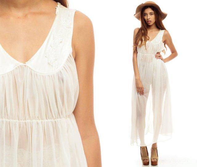 Sheer Nightgown Lingerie Slip Dress S Maxi Boho Nylon White Empire Waist Long Vintage Romantic Dreamy S Bohemian Sleeveless Large