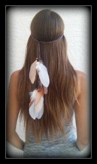 Native American, Feather HeadBand, Wedding, White Feather ...