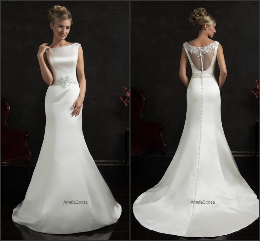 Bright 2015 Spring Mermaid Wedding Dresses White Satin Beaded Sash Sheer Zip Back Simple Cheap