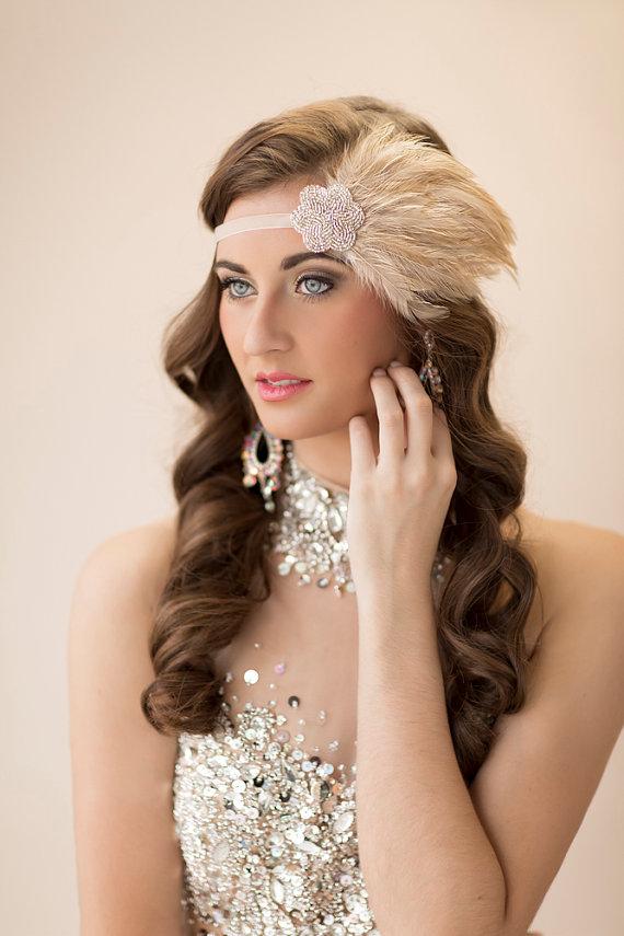 20s Bridal Headpiece Great Gatsby Wedding 1920s Feather