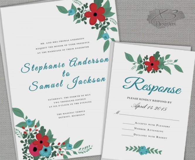 Fl Barn Wedding Invitation Set