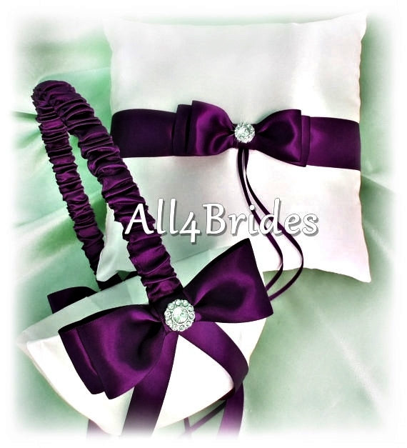 Deep Purple Wedding Ring Bearer Pillow And Flower Girl