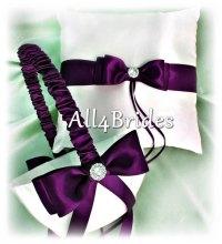 Deep Purple Wedding Ring Bearer Pillow And Flower Girl