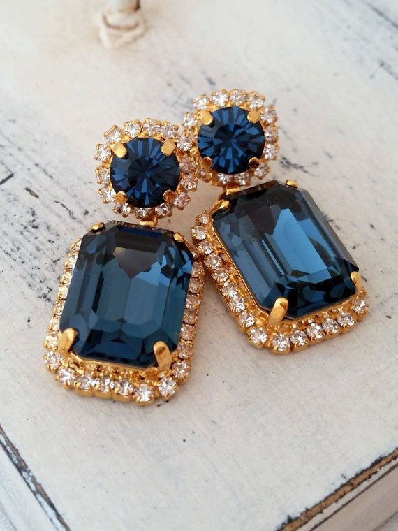 Navy Blue Chandelier Earrings Drop Dangle Bridal Deep Swarovski Gold Or Silver