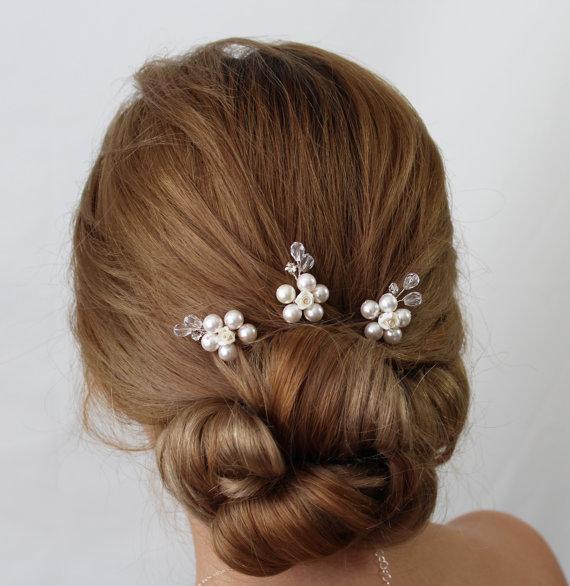 bridal flower hair pin jasmine hair pins wedding hair accessories bridal head piece pearl amd flower hair pin pearl wedding hair pin