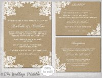 "Rustic Wedding Invitation Set DIY ""Rustic Lace"" Printable ..."