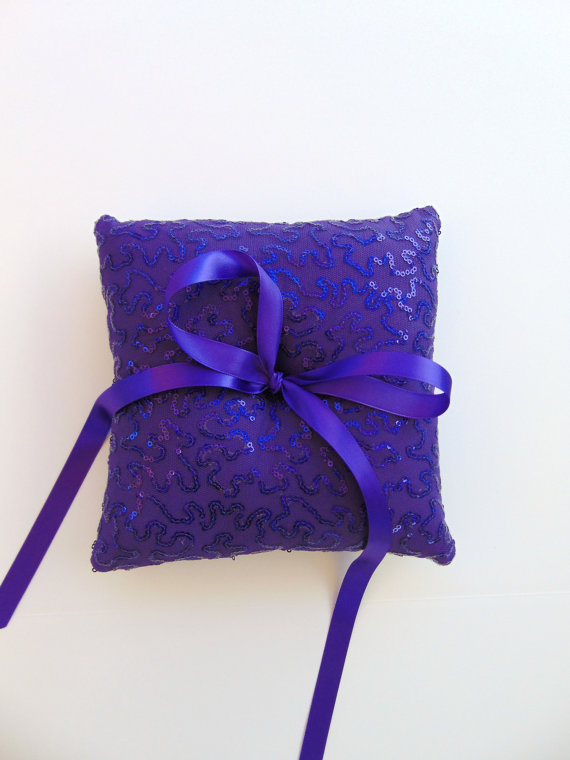 Purple Sequin Ring Bearer Pillow, Purple Ring Bearer