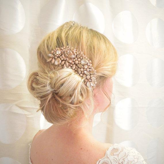 20 off sale rose gold hair comb bridal hair comb wedding hair clip wedding hair accessory rose gold wedding headpiece bronze comb