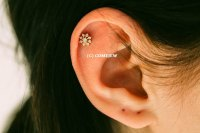 Mini Flower Cz Tragus Earring,bridesmaid Gift,Single ...