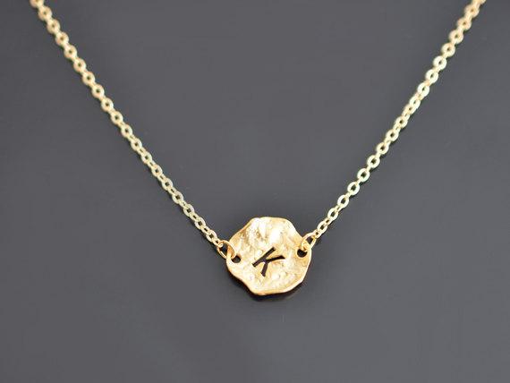 monogram disk necklace