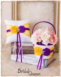Cadbury Purple And Yellow Flower Girl Basket, Wedding Ring