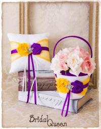 Cadbury Purple And Yellow Flower Girl Basket, Wedding Ring ...