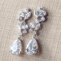 Long Bridal Earrings, Crystal Drop Earrings, Diamante ...