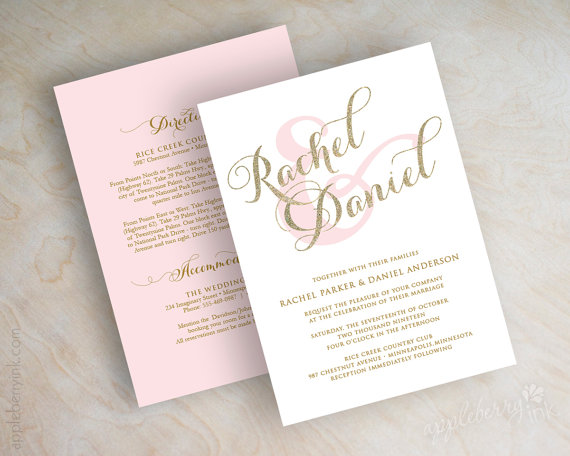 Gold Glitter Sparkle Wedding Invitation Pink And