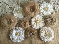 10 Rustic Lace And Burlap Handmade Flowers - Wedding Cake ...
