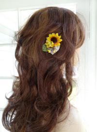 Sunflower Hair Clip, Bridesmaid Hair Accessories, Floral ...