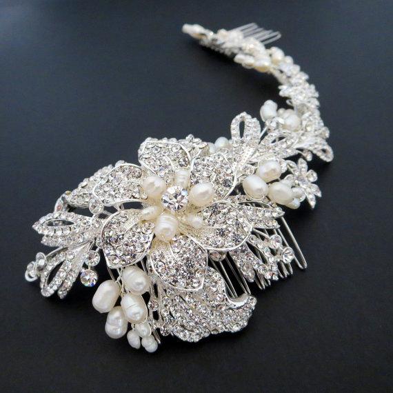 bridal headpiece bridal hair vine pearl wedding headpiece large bridal hair comb rhinestone headpiece pearl hair comb statement headpiece