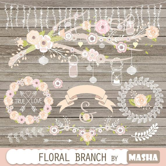 Wedding Invitation Clipart Clip Art Fl Bicycle Banner Vintage Flowers Laurel Flower Basket Wreath Bicyclewf067