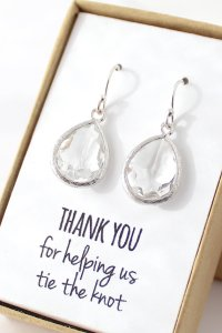 Clear Crystal / Silver Teardrop Earrings - Crystal ...