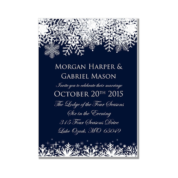 Winter Wedding Invitation Snowflake Instant
