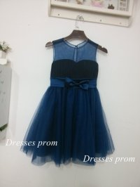 Navy Blue Tulle Flower Girl Dress Infant Toddler PAGEANT