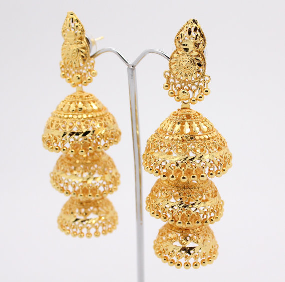 Vintage Indian Bollywood Drop Dangle Artificial Gold Chandelier Chumka Earrings Costume Jewelry Jewellery Bridal Wedding Party Prom