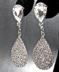 Crystal Rhinestone Teardrop Earrings - Luminous - Large ...