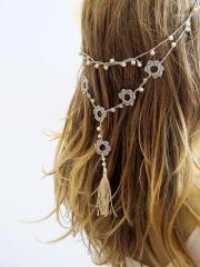 crochet headband and necklace hairband
