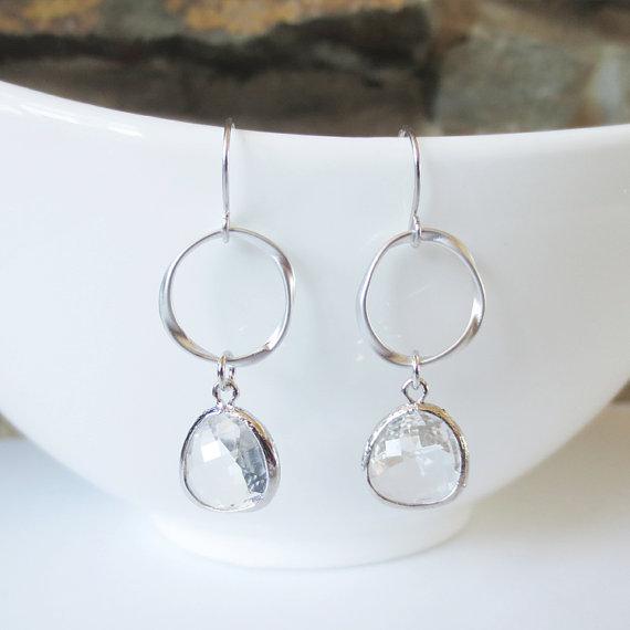 Sparkle Hoop Drop Earrings, Dangle Earrings, Hoop, Wedding