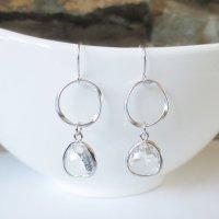 Sparkle Hoop Drop Earrings, Dangle Earrings, Hoop, Wedding ...