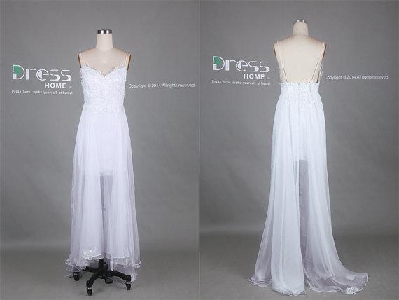 White Spaghetti Straps Lace Tulle Long Wedding Dress/Flowy