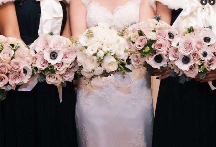 BouquetFlower  Black And Pale Pink Winter Wedding