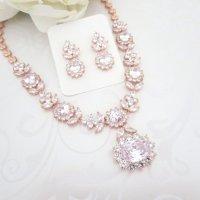 Rose Gold Statement Necklace, Rose Gold Bridal Necklace