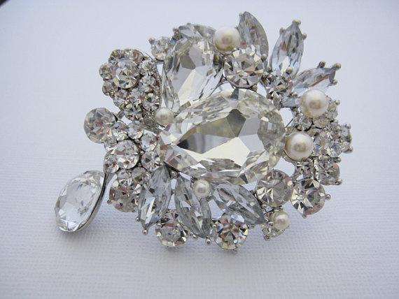 wedding hair brooch wedding pearl brooch bridal brooch