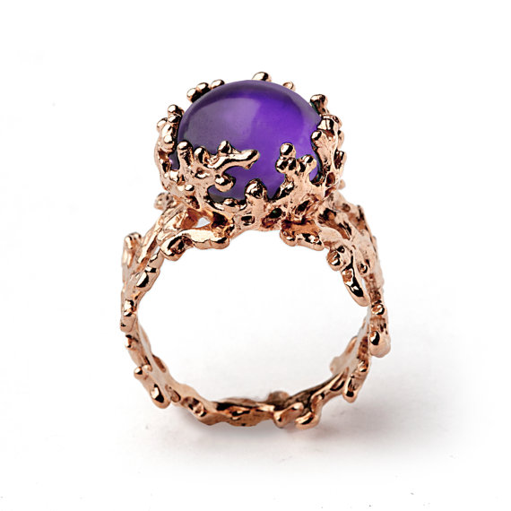 CORAL 14k Gold Amethyst Ring, Purple Amethyst Engagement