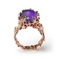 CORAL 14k Gold Amethyst Ring, Purple Amethyst Engagement ...