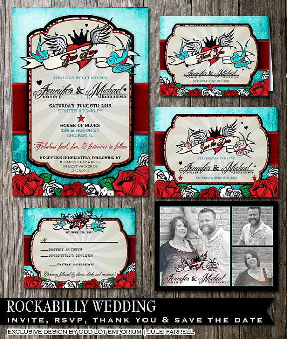 Rockabilly Wedding Invitation And