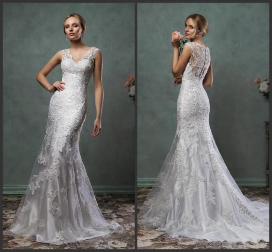 Stunning Mermaid Spring 2016 Amelia Sposa Lace Trumpet Wedding Dresses VNeck Applique Bridal
