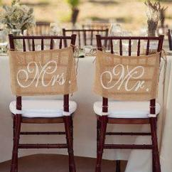 Mr And Mrs Chair Signs Folding Picnic Chairs Burlap Wedding Decorations