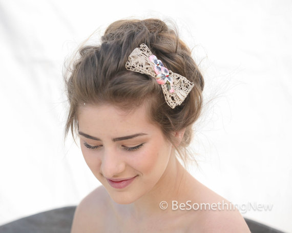 vintage ivory lace bow hair clip with vintage velvet pansies woman hair accessories hair bows lace bow hair clip lace hair bow wedding
