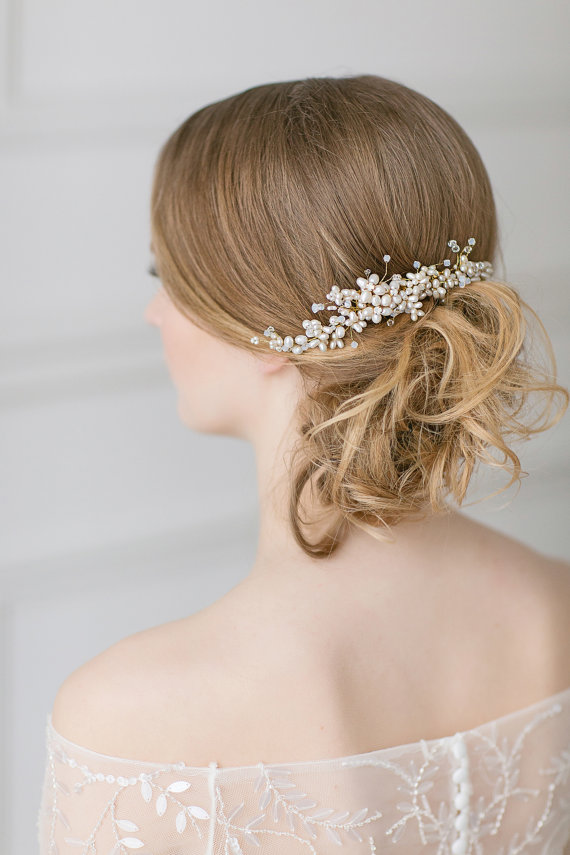 wedding pearl hair piece gold swarovski headpiece bridal hair comb large freshwater pearl comb bridal hair accessories