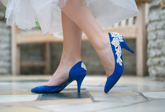 bridal shoes cobalt blue wedding shoes bridesmaid gift wedding heels lace heels with ivory lace us size 5 5